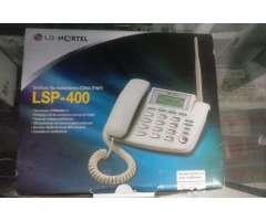 telefono con linea y caja, listo para hablar, marca LG